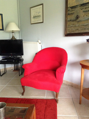 Fauteuil crapaud rouge