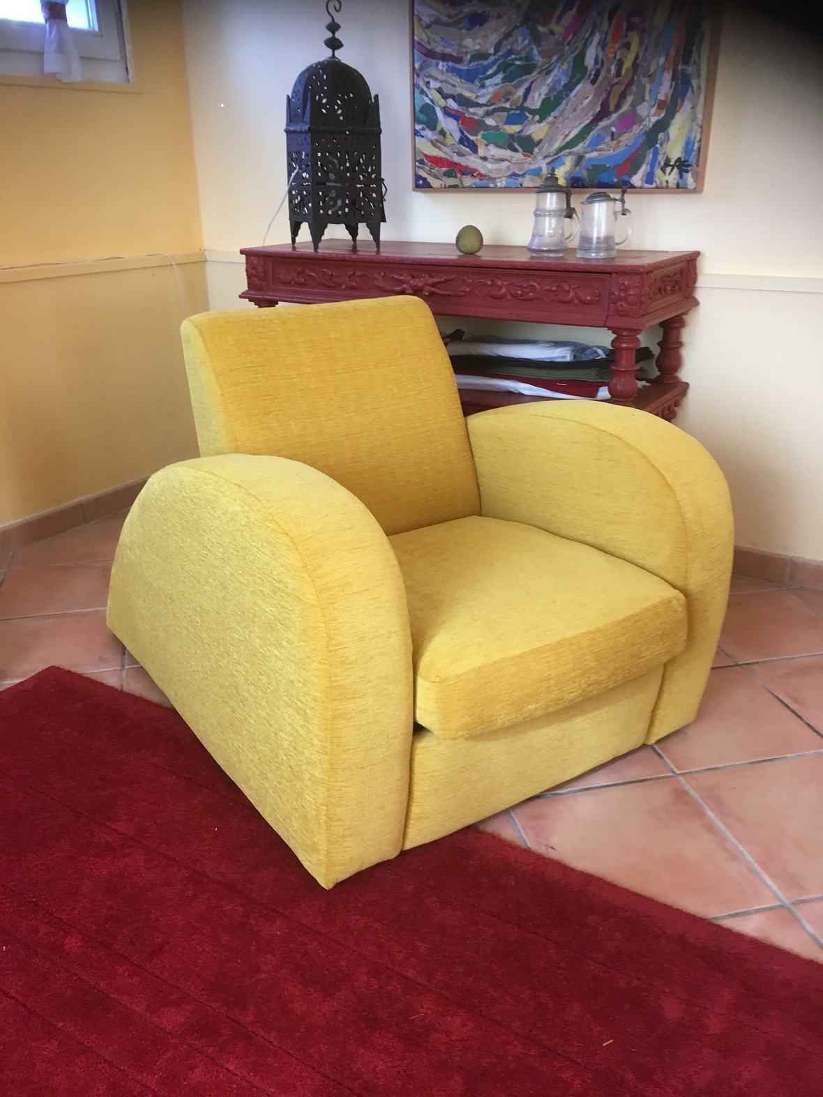 fauteuil ann e 70 gilles auriol tapissier. Black Bedroom Furniture Sets. Home Design Ideas