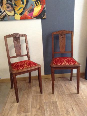 2 chaises tissu Drago Pierre Frey